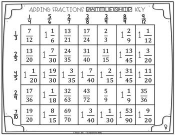 Adding Fractions Battleship Game