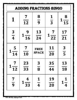 Adding Fractions Bingo (30 pre-made cards!)