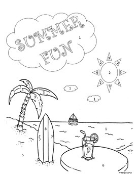 Adding Fractions Color by number (Summer Fun)