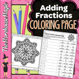 Adding Fractions with Unlike Denominators Math Color By Number or Quiz