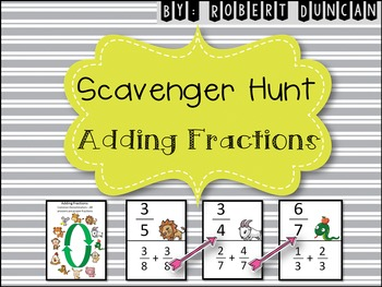 Adding Fractions - with Common Denominators Scavenger Hunt for 5th and 6th grade