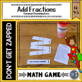 Adding Fractions with Common Denominators Don't Get ZAPPED Math Game