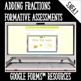 Adding Fractions Formative Assessments for Google Forms Di