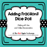 Adding Fractions Dice Roll Activity *The Red Apple Exchange*