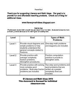 Adding Fractions:  Differentiated Exit Slips {3 Levels of Instruction}