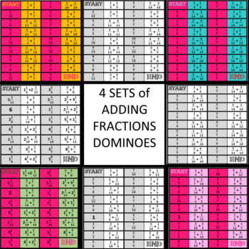 Adding Fractions Dominoes Games 4 Sets