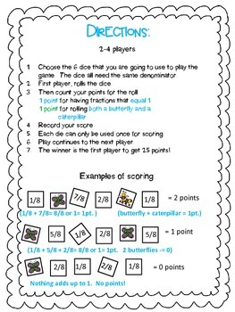 Adding Fractions Game - Like Denominators (Grades 2-4)