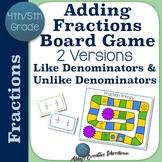 Adding Fractions Game Like Denominators and Unlike Denominators