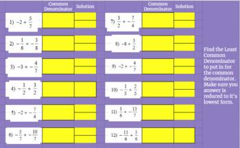 Adding Fractions - Google Classroom - PreAlgebra