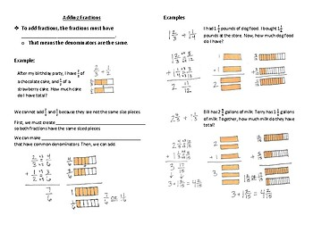 Adding Fractions Interactive Notebook