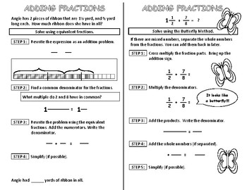 Adding Fractions Interactive Notebook Page
