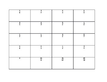 Adding Fractions Matching Game