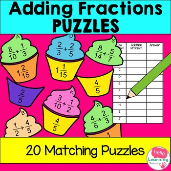 Adding Fractions Math Puzzle Activity