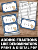 Adding Fractions with Like Denominators, Fraction Task Car