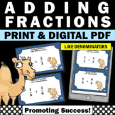 Adding Fractions with Like Denominators, 4th Grade Fraction Task Cards