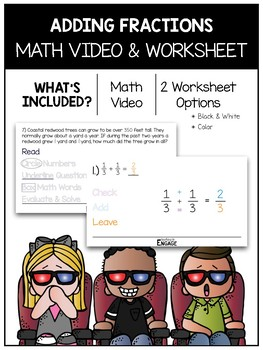 Adding Fractions Math Video and Worksheet