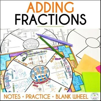 Adding Fractions Math Wheel