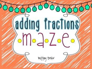 Adding Fractions Maze