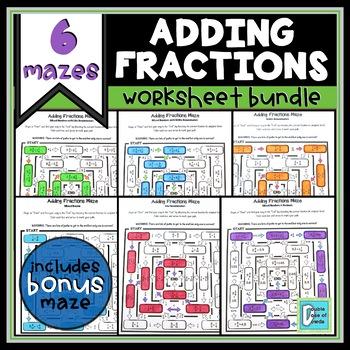 Adding Fractions Maze Bundle