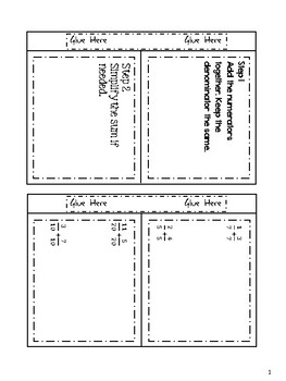 Adding Fractions, Mixed Numbers, and Models Differentiated Interactive Notes