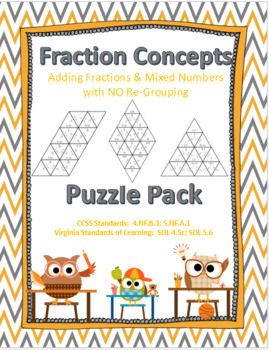 Adding Fractions & Mixed Numbers with No Regrouping Puzzle Pack