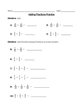 Adding Fractions Practice