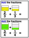 Adding Fractions Practice Cards and Worksheets