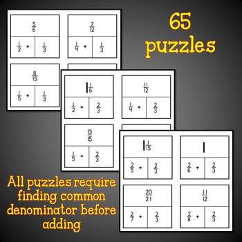 Adding Fractions Puzzles