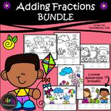 Adding Fractions SPRING BUNDLE | Color-by-Number Worksheets