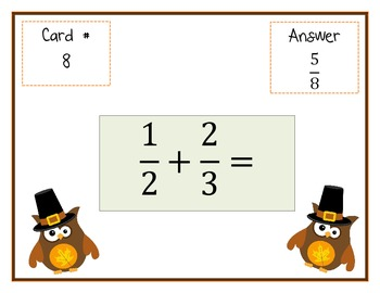 Adding Fractions Scavenger Hunt - Around the Room Math - Thanksgiving Themed