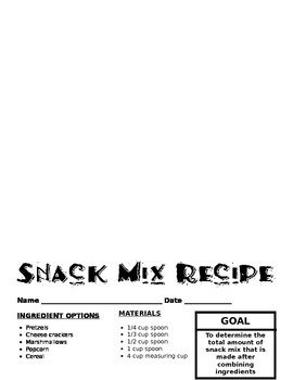 Adding Fractions Snack Mix Activity
