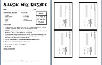Adding Fractions Snack Mix Recipe Activity