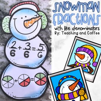 Adding Fractions Snowman Craft