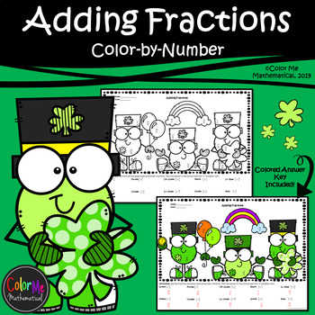 Adding Fractions with Unlike Denominators | St. Patrick's Day | Color-by-Number