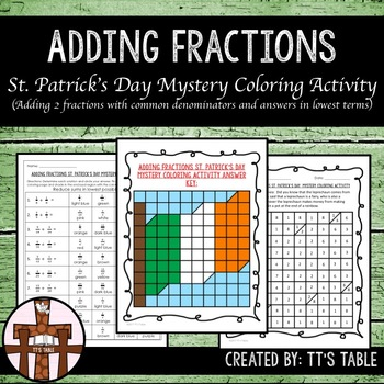 Adding Fractions St. Patrick's Day Mystery Coloring Activity (1)