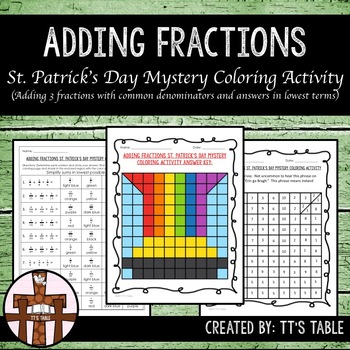 Adding Fractions St. Patrick's Day Mystery Coloring Activity (2)