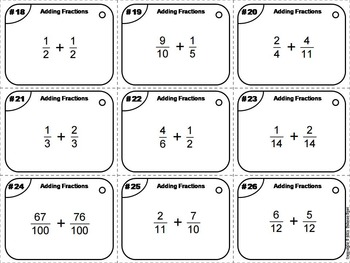 Adding Fractions with Like and Unlike Denominators Task Cards