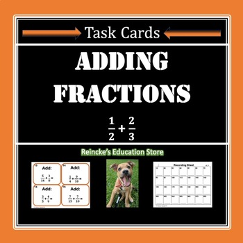 Adding Fractions Task Cards (28 cards!)