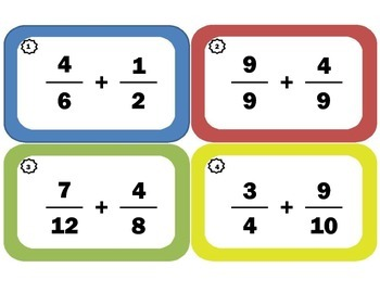 Adding Fractions Task Cards: Fraction-Addition Flash Cards