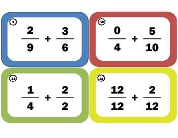 Adding Fractions Task Cards: Fraction-Addition Flash Cards