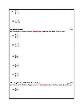 Adding Fractions Test