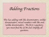 Adding Fractions Test