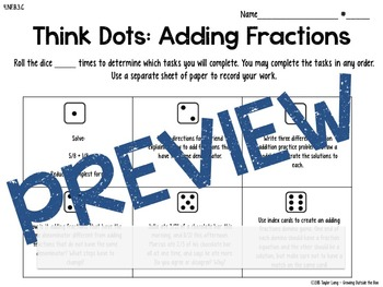 Adding Fractions - Think Dots - Differentiated Critical Thinking Activities