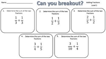 Adding Fractions – Two Breakout Activities!