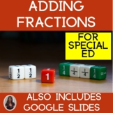 Adding Fractions Unit for Special Education Like Denominators