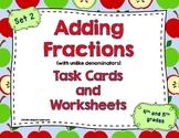 Adding Fractions Task Cards and Worksheets (Unlike Denominators)