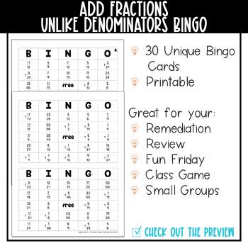 Adding Fractions Unlike Denominators BINGO Math Game