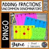 Adding Fractions Unlike Denominators BINGO Math Game