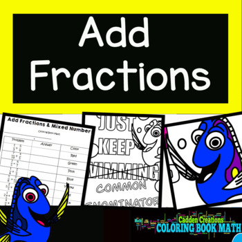 Adding Fractions: Unlike Denominators Coloring Book Math Finding Nemo's Squirt