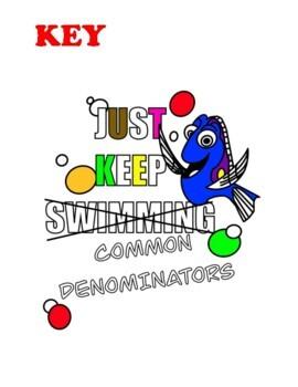 Adding Fractions: Unlike Denominators Coloring Book Math